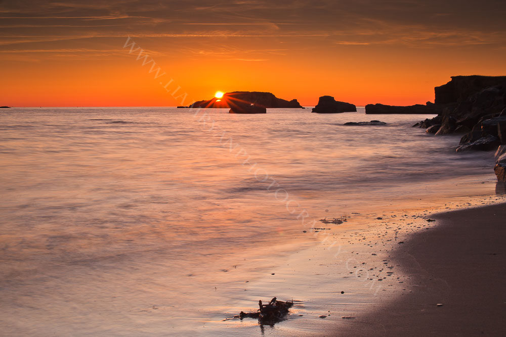 Cauptured this beautiful sunset next to our camp site. When the tide goes out an enormous mussel farm is revealed. La Pointe du Bile, France