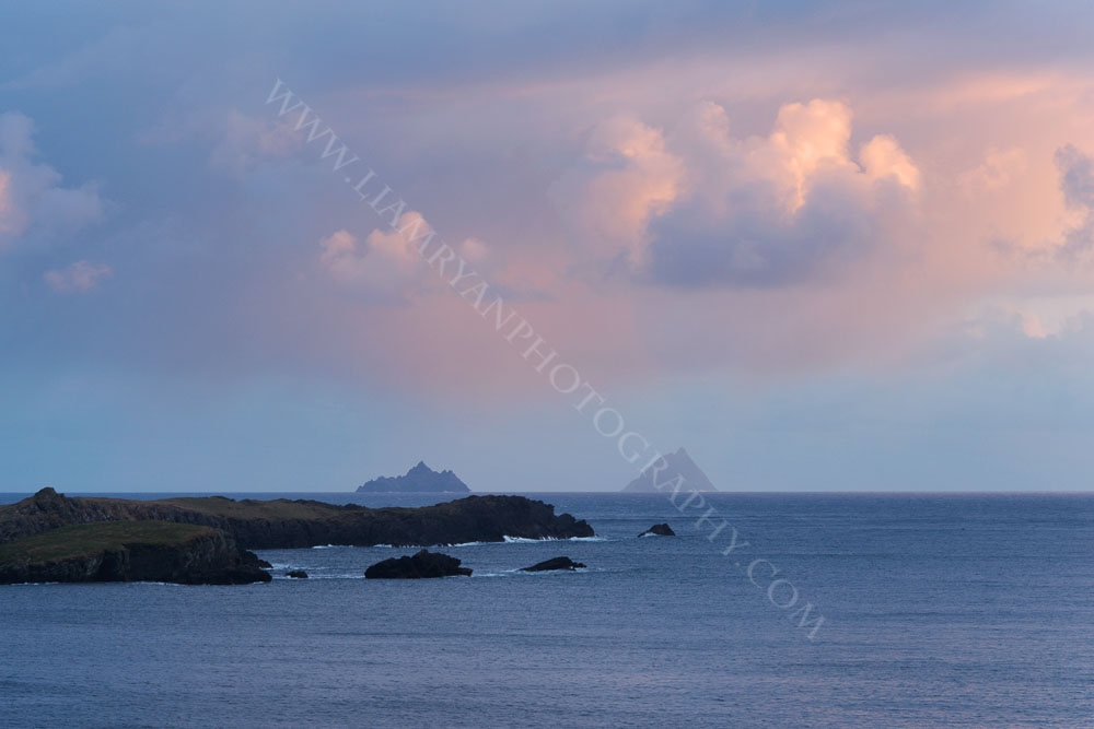 Skellig Rocks on a Stormy Evening As The Sun Goes Down