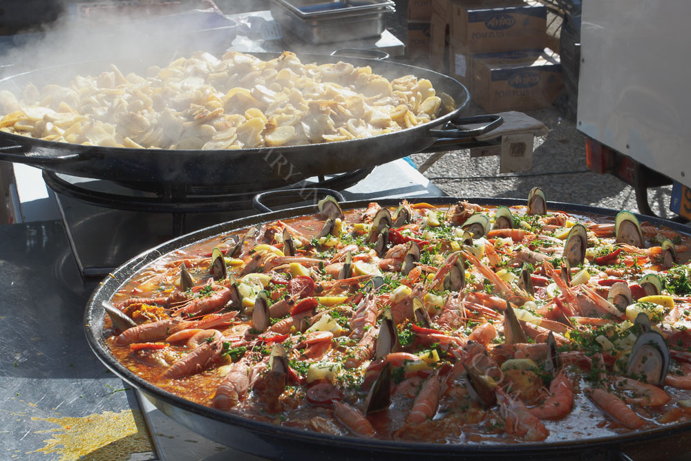 Street food during a market day. Sarlat, Dordogne France